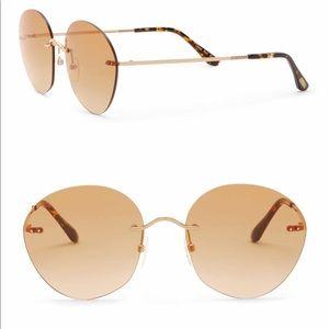Toms Clara Gold Rimless Round Sunglasses